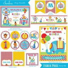 Customized Fisher Price Circus Printable Birthday Invitation and Party Kit