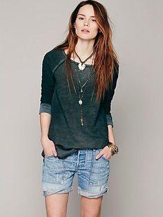 Free People Textured Sleeve Pullover