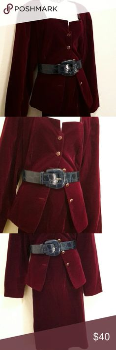Cachet by Bari Protas Burgundy 2pc Formal Suit Excellent Condition, Worn Once, Gold Button Down Front, Lined, Skirt has Back Slit, Elastic Waist, Accessories not included. Skirts Skirt Sets