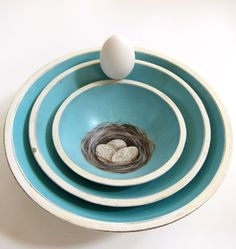French Country Farmhouse Nesting Bowls Turquoise by ShopOnALark, $75.00