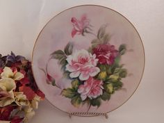 Porcelain Plate VTG 1950s Lefton Wall Hanging Hand Painted Pink Roses Home Decor…