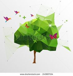 stock-vector-origami-tree-243807154.jpg (450×470)
