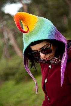 Unique handmade felt hat by Feltthink
