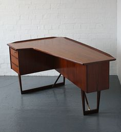 Peter Løvig; Teak and Brass Desk for Løvig, 1956.