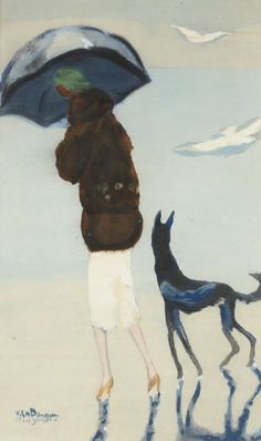 Kees Van Dongen (1877-1968)    Woman with Dog Walking on the beach (Femme avec un chien marchant sur la plage), 1925-1930.