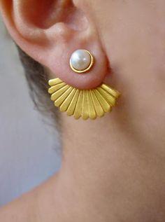 Gold Bridal Earrings, Bride Earrings, Pearl Stud Earrings, Pearl Studs, Bridesmaid Earrings, Wedding Earrings, Women's Earrings, Front Back Earrings, Ear Jacket