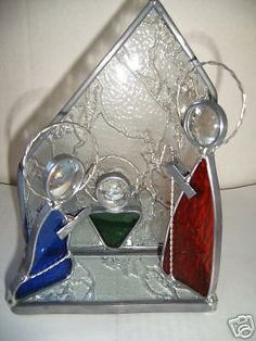 Stained Glass Nativity Set and Candle Holder