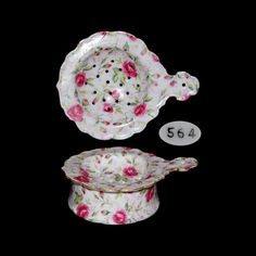 Vintage Porcelain Rose Floral and Gold Trim Tea Strainer and Receptacle.