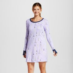 • Cotton and rayon fabric is soft and lightweight<br>• Thumb hole at cuffs add more coverage<br>• Relaxed fit skims your body<br>• Hits just above the knee<br><br>The perfect cure for a chilly winter night, this Nite Nite Munki Munki® Women's Nightgown in Historic Towers Print is a super-soft piece you'll want to live in.