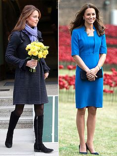 Princess Kate's Chic Pregnancy Style: Then & Now | 1 MONTH | December 2012: Severe morning sickness sends her to the hospital, but she reemerges, looking fresh as a daisy. August 2014: No hint she's expecting in a royal blue L.K. Bennett crepe sheath dress.