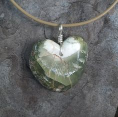 Large Prehnite heart  necklace - the way Nature created it - organic, earthy, natural & simply unique by NaturesArtMelbourne on Etsy