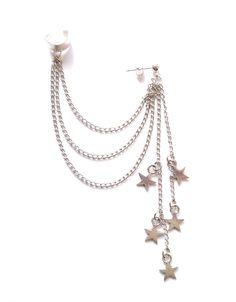 Ear cuff i silverplätering med kedjor och stjärnor. Hand Jewelry, Cute Jewelry, Jewelry Accessories, Jewelry Design, Tiny Stud Earrings, Cuff Earrings, Vampire Diaries Jewelry, Pirate Jewelry, Grunge Jewelry