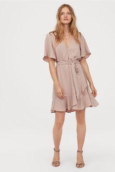 V-neck Wrap Dress - Dark powder pink - Ladies Wrap Dress Short, Short Dresses, Fashion Art, Office Fashion Women, Neck Wrap, Flare Skirt, The Dress, Women's Fashion Dresses, Neue Trends