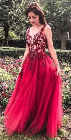 Unique Red V Neck Evening Dress Tulle Appliques Prom Dresses, Long Party Gowns Long Party Gowns, Evening Party Gowns, Evening Dresses, Party Dresses, Formal Dresses, Elegant Dresses, Wedding Dresses, Ladies Dresses, Dresses Dresses