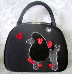 Vintage black satin handbag with poodle applique