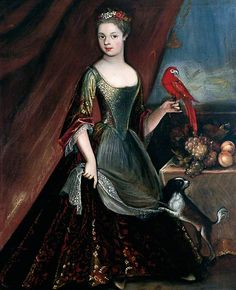 Unknown Girl in Green Dress with Parrot [and faithful spaniel!] unknown artist, 1725-1735.