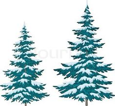 Vector, christmas trees under snow on a white background