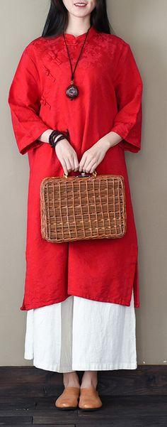 bracelet sleeved cotton spring tunics for women Sleeve red Robe Dress