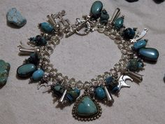 NAVAJO+Fred+Harvey+Era+CHARMS+BRACELET+all+STERLING+Silver+++Genuine+TURQUOISE+