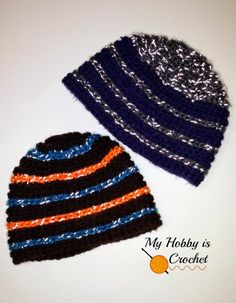 """My Hobby Is Crochet: """"Reflective Stripes"""" Hat for Children and Adults - Free Crochet Pattern"""