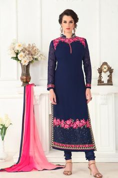 Online Shopping of Enchanting Blue Color Georgette Party Wear Salwar Kameez With Amazing Embroidery Work from SareesBazaar, leading online ethnic clothing store offering latest collection of sarees, salwar suits, lehengas & kurtis Pakistani Salwar Kameez, Churidar Suits, Pakistani Dresses, Lehenga Choli, Indian Dresses, Shalwar Kameez, Indian Wedding Outfits, Indian Outfits, Latest Salwar Suits