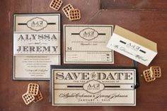 Wood Grained wedding invitations from Lisa Takao Paper Couture / Pub Wedding
