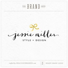 Gracious Brands NEW Etsy shop!  Premade Logo Design ~ Golden Bow