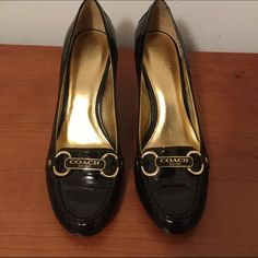 """Coach Charley Brown Patent Leather Pumps SZ. 8B Coach Charley Brown Pumps SZ. 8B Brown patent leather and leather soles Coach heels with gold accent hardware with Coach logo.  Heels are about 3"""" high, yet they are comfortable.  Minor blemish on right heel, see last picture. Coach Shoes Heels"""