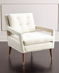 """#ONLYATNM Only Here. Only Ours. Exclusively for You. Handcrafted chair. Alder wood frame. Cotton upholstery. 32""""W x 33""""D x 35""""T. Seat, 23""""W x 23""""D x 20""""T; arms, 24""""T. Foam-filled seat and back cushion"""