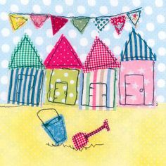Beautiful beach huts - would be cute if made into blocks, along with the pendent banners...