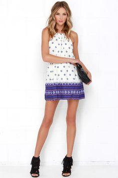 af50b23b8e7 Dee Elle Aegean Islands Blue and Ivory Print Dress at Lulus.com! California  Style