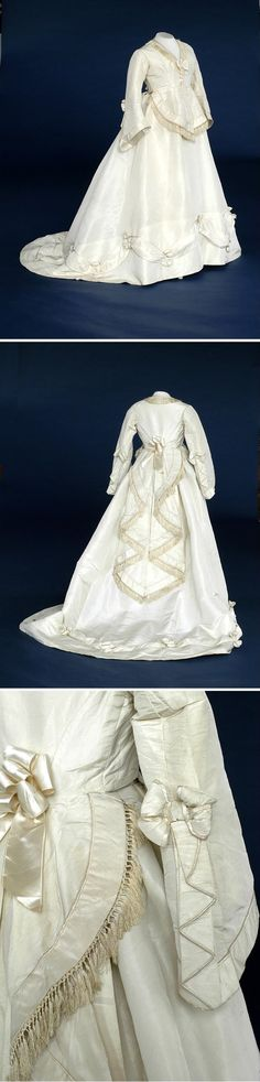 Wedding Dress, 1860, England, Two piece cream silk wedding dress, trimmed with fringing, satin swags and bows.