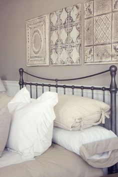 Tin panels above bed they can also be decorative pieces on their own. kristina patterson · bedroom wall decor above bed Bedroom Wall Decor Above Bed, Bed Wall, Bedroom Decor, Above Headboard Decor, Decor For Above Bed, Wall Decor Above Tv, Metal Wall Decor, Bedroom Ideas, Home Bedroom
