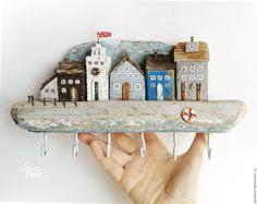 Купить Ключница 'Домики на побережье' дрифтвуд-городок (повтор) - белый, бирюзовый, домики, домик на море