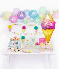 Create an oh-so-sweet ice cream party with this party box filled with adorable pastel rainbow colored party goods and decorations with a modern touch. Just bring in the yummy toppings and delicious treats and get ready to scream for ice cream! 2nd Birthday Party Themes, Birthday Balloons, 4th Birthday, Birthday Ideas, Ice Cream Balloons, Rainbow Ice Cream, Ice Cream Theme, Ice Cream Party Decor, Small Balloons