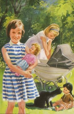 "This was a very common sight, during my early childhood.  A doll carriage was a highly coveted, little girl staple back in the 1960s.  Illustration courtesy of ""Ladybird Books,"" or the 'Peter and Jane' books of the 60s and 70s."