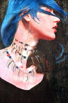 """Blue Karou """"Karou"""" by Jim Di Bartolo (the main character from Daughter of Smoke and Bone by Laini Taylor)"""