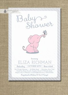 {Eliza} Pink Elephant Baby Shower Invitation by digibuddhaPaperie on Etsy, $20.00 https://www.etsy.com/listing/158224009/pink-elephant-baby-shower-invitation