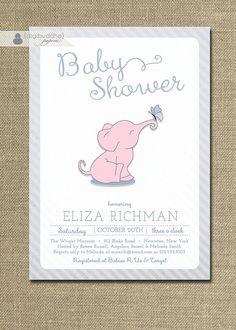 {Eliza} Pink Elephant Baby Shower Invitation by digibuddhaPaperie on Etsy, $20.00 https://www.etsy.com/listing/158224009/pink-elephant-baby-shower-invitation