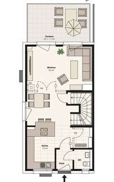 Doppelhaus Sinus | INTERHOMES AG Small House Plans, House Floor Plans, Small Places, Modern House Design, Bungalow, Townhouse, Sweet Home, New Homes, How To Plan