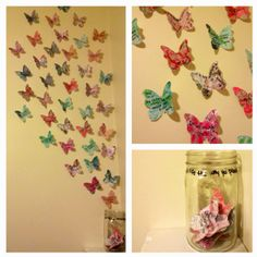 Bucket list written on the wings of butterflies flying out of a mason jar. Once I complete a goal, I write the date and a description on the back and put it in the jar. Very easy to make.