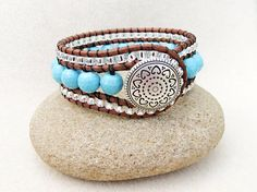 Turquoise Cuff  Bracelet, Triple Row Leather Wrap in Robins Egg Blue, Silver Glass Line Beads, Handmade Jewelry by Creative Gypsy on Etsy