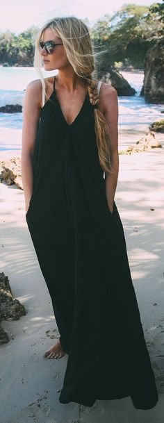 Summer uniform --Black Full Length Maxi Dress, braid, and sunnies.