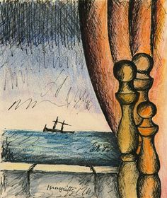 René Magritte (Belgian, 1898 – 1967)  Difficult crossing (Traversée difficile), 1960 Ink and colored pencil on cardstock, 18 x 15 cm
