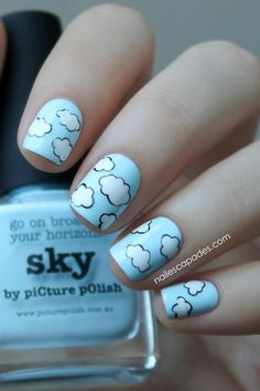 Nail Escapades: Picture Polish - Sky // Cloud Drawings Nail Art