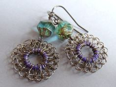 Hand Crochet Wire Gunmetal and Czech Glass Bead by PrayerMonkey, $14.00
