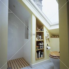 living4media - velux window above toilet in small attic bathroom with open shower and recessed shelving