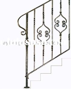 Wrought Iron Stair Handrail with Noble Appearance Home Depot