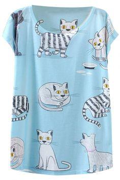 Blue Background White Kitten Short Sleeve T-Shirt