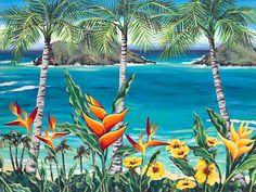 Heleconia Heaven Hawaiian Art by Susanne Ball